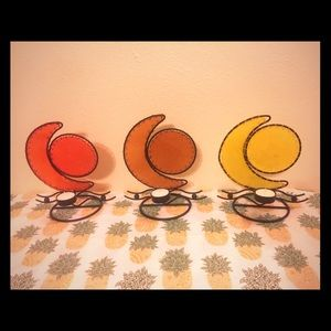 Moon and star candle holder trio